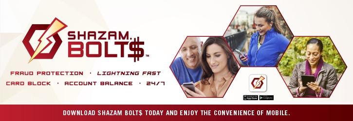 Shazam Bolt$. Fraud protection .  Lightning fast . Card Block .  Account balance . 24/7